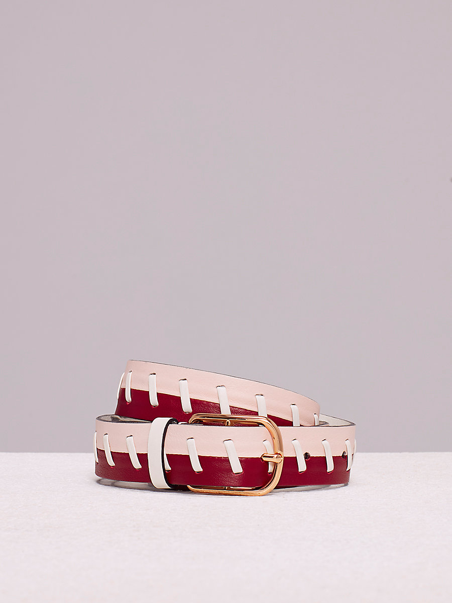 Single Notch Belt in Petal/ Ivory/ Red Wine by DVF