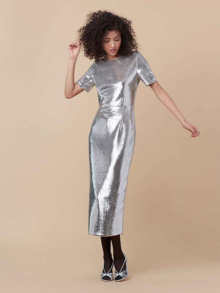 Tailored Sequin Midi Dress in Silver/ Nectar by DVF