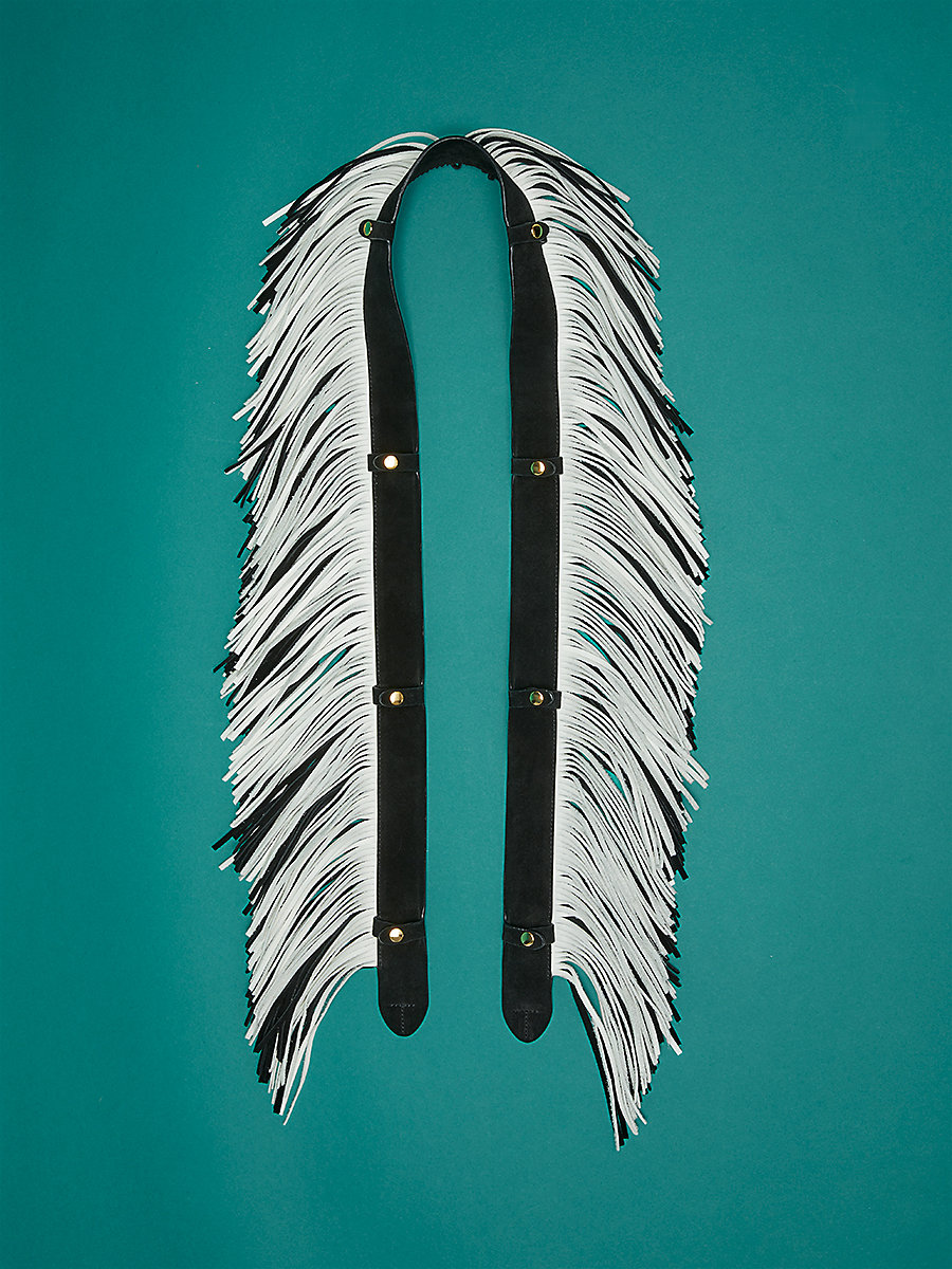 Fringe Strap Accessory in Black/ Ivory by DVF