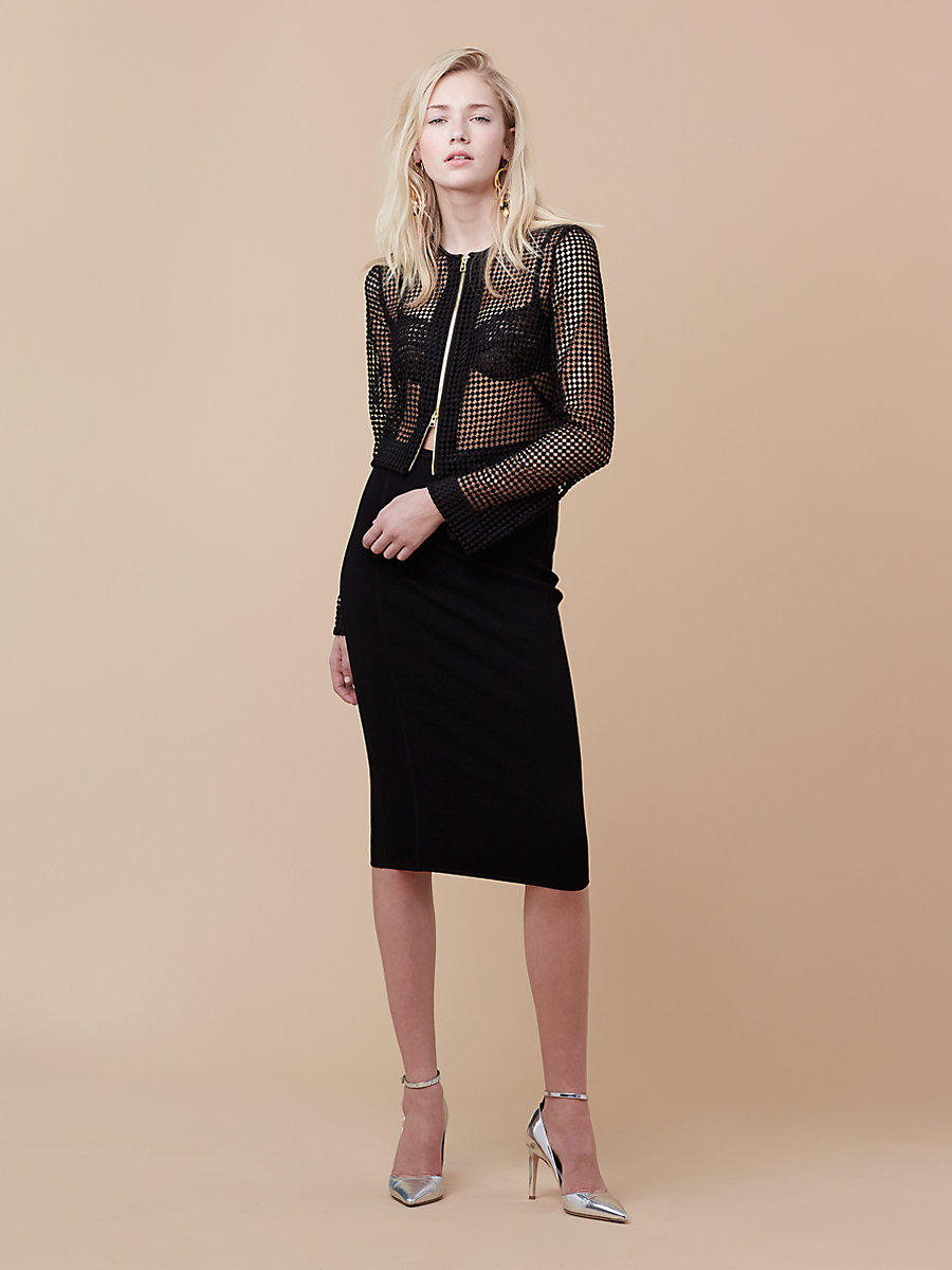 Chain Lace Jacket in Black by DVF
