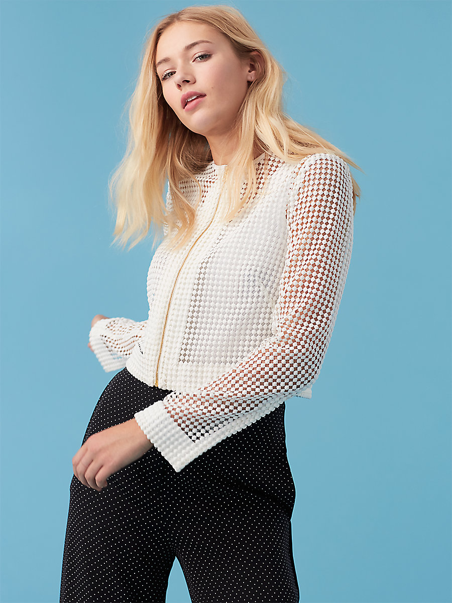 Chain Lace Jacket in White by DVF