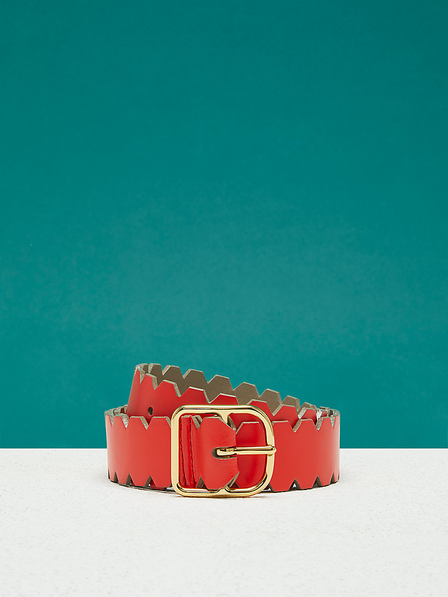 Single Notch Scalloped Belt in Mushroom/ Bold Red by DVF