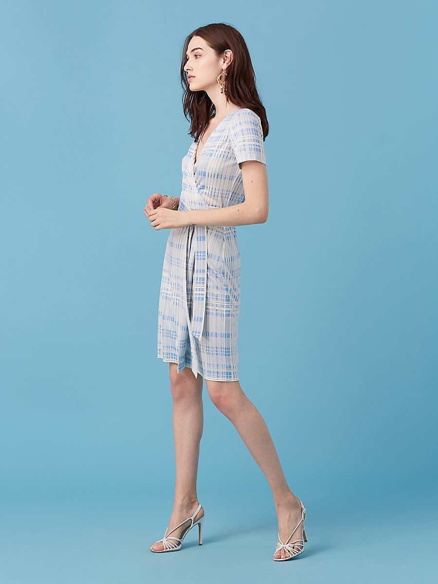 New Julian Short Sleeve Wrap Dress in Darnley Hortensia Blue by DVF