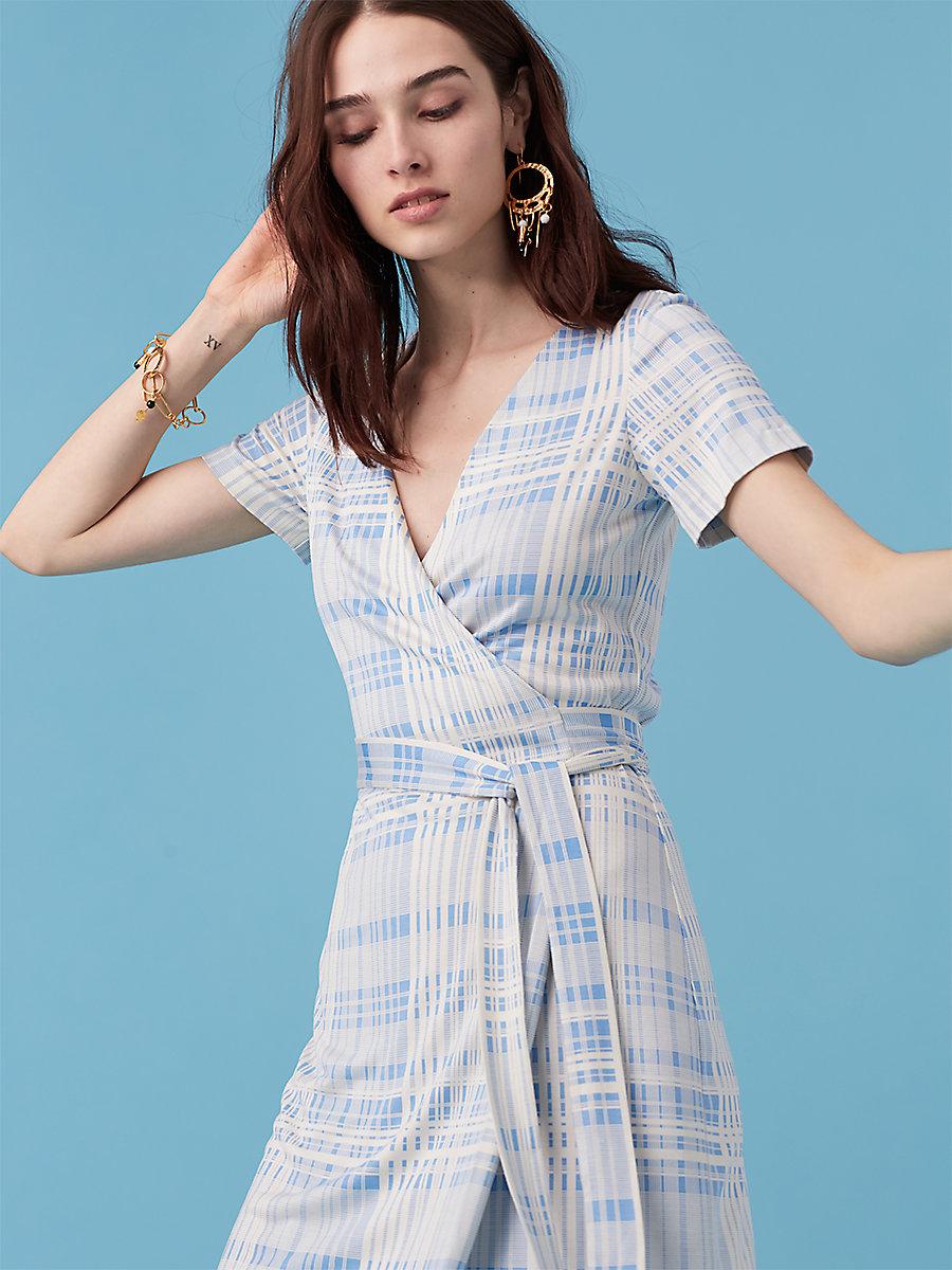 New Julian Short Sleeve Wrap Dress in Darnley Hortensia Blue by DVF