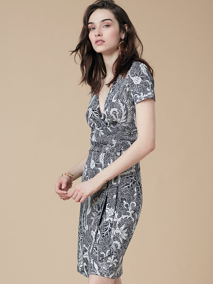 New Julian Short Sleeve Wrap Dress in Serret Black by DVF