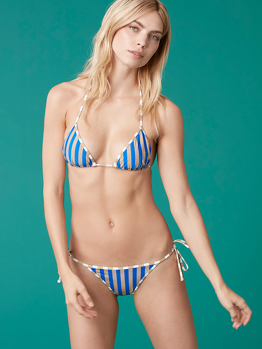 Reversible String Bikini Top in Klein Blue/ Gold/ Midnight by DVF