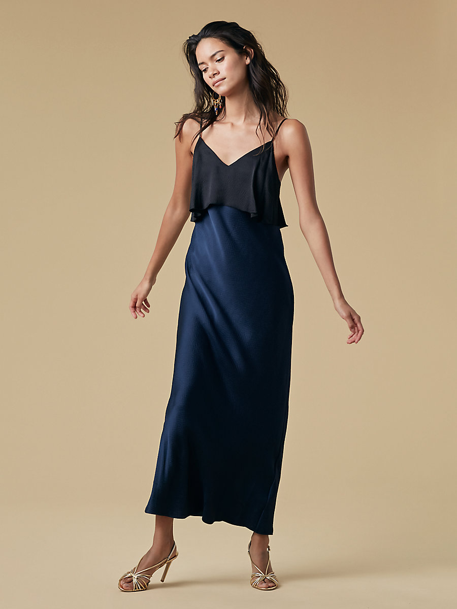 Tiered Floor Length Dress in Alexander Navy/ Black by DVF