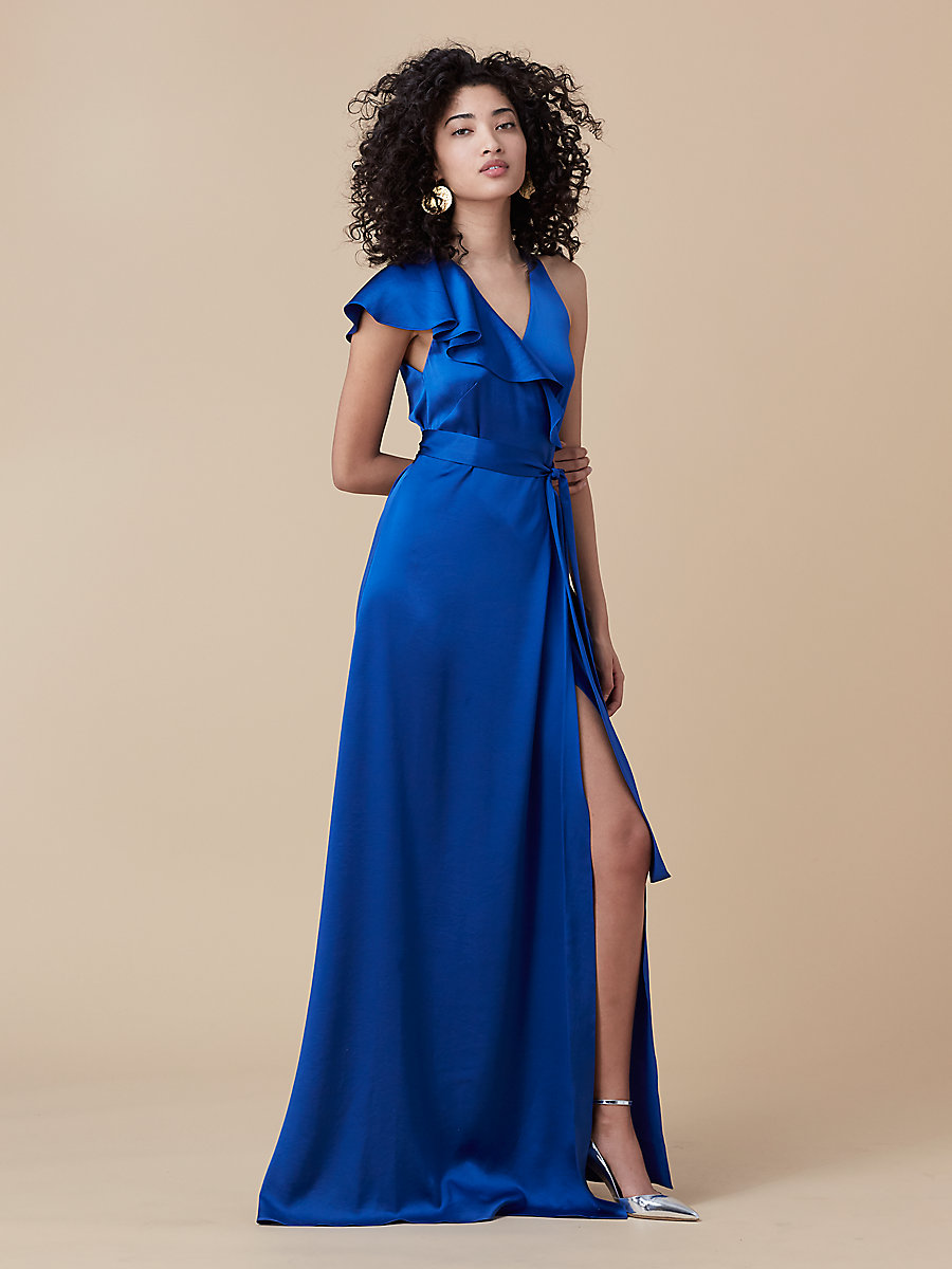 Floor-Length Asymmetric Ruffle Wrap Dress in French Blue by DVF