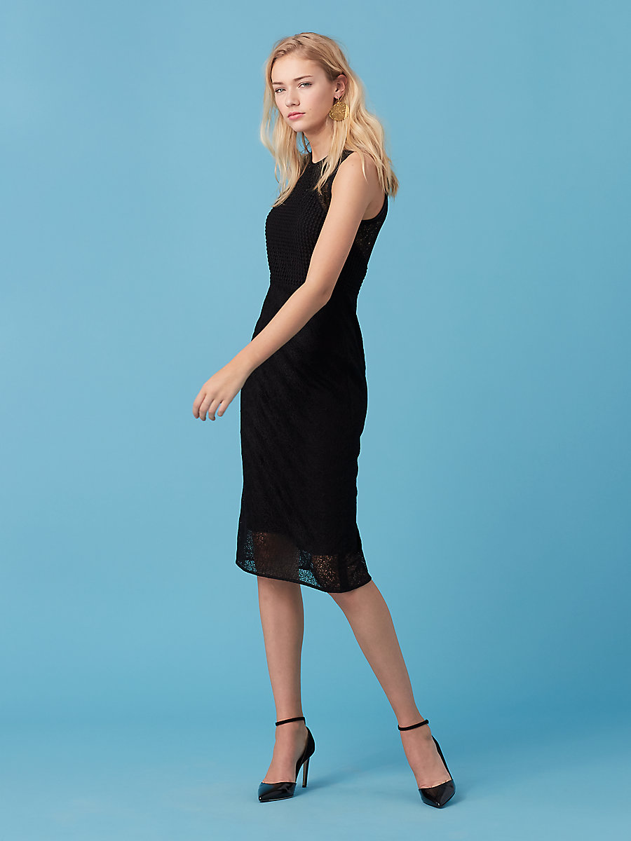 Tailored Lace Midi Dress in Black by DVF
