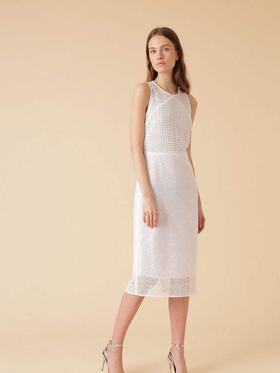 Tailored Lace Midi Dress in White by DVF