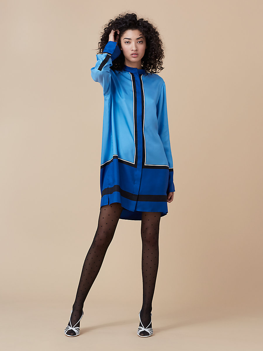 Oversized Shirt Dress in Arago True Blue/ Ivory by DVF