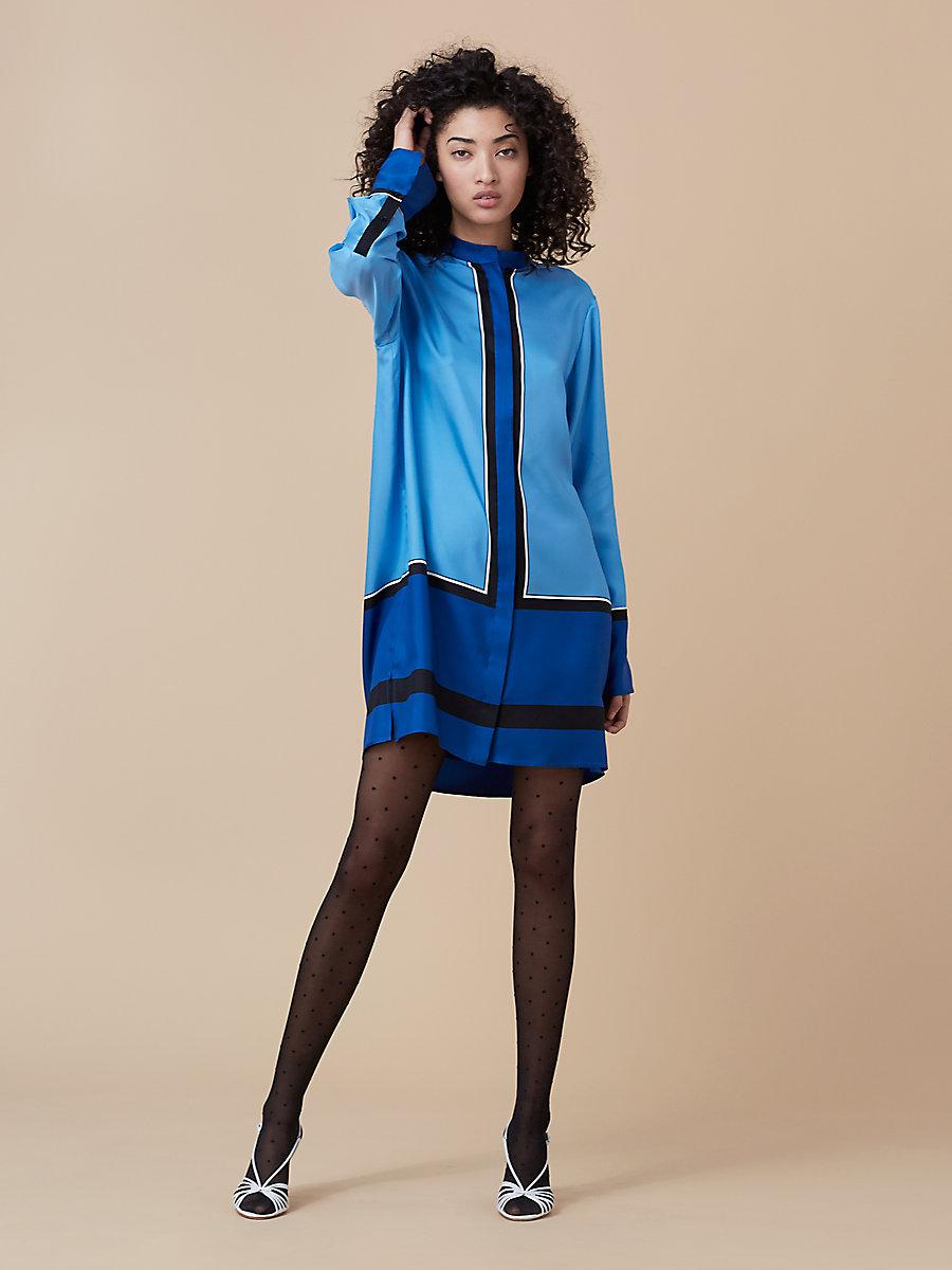 Oversized Shirt Dress in Arago True Blue/ Ivory by DVF