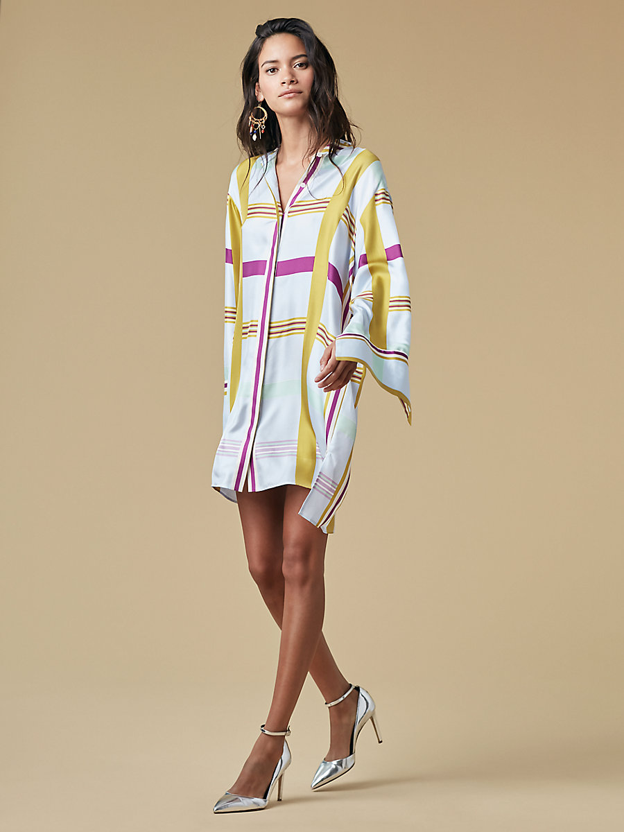 Oversized Shirt Dress in Euler Hortensia Blue/ Ivory by DVF
