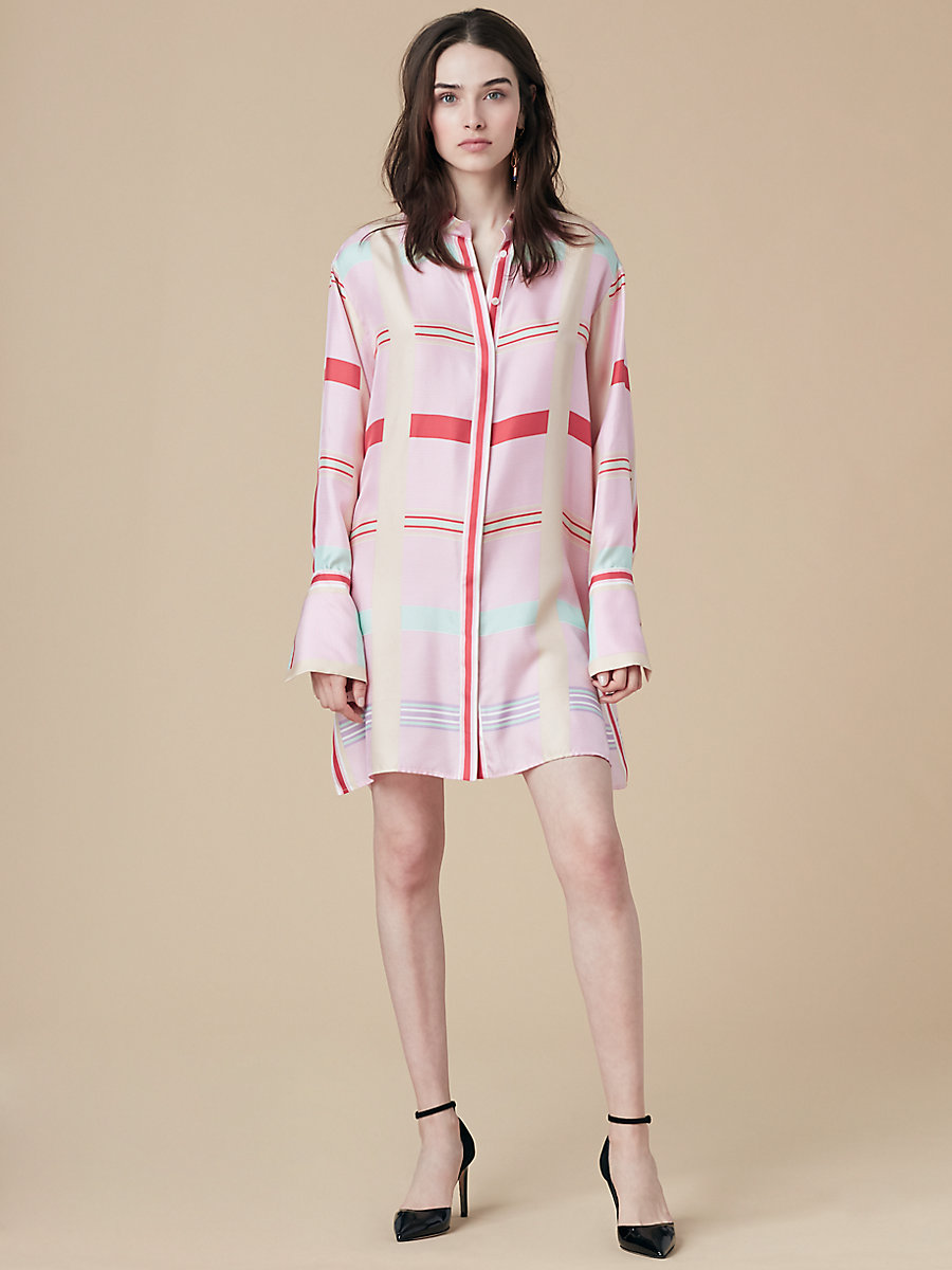 Oversized Shirt Dress in Euler Cinnabar/ Ivory by DVF