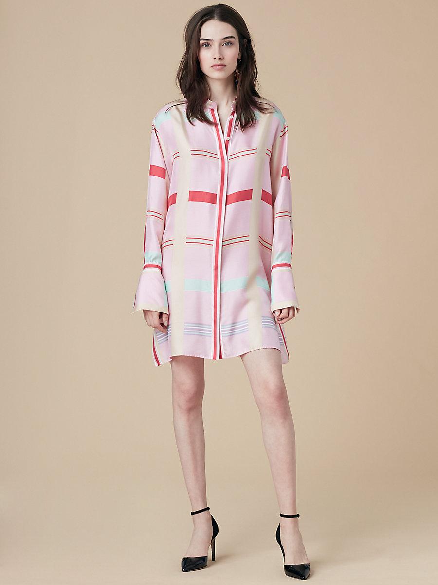 Oversized Shirt Dress in Euler Cinnabar/ Ivory by DVF