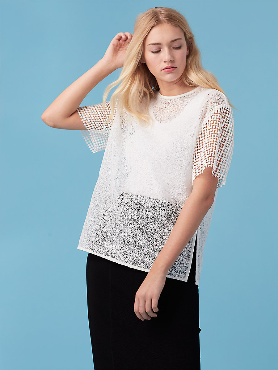 Lace T-Shirt in White by DVF