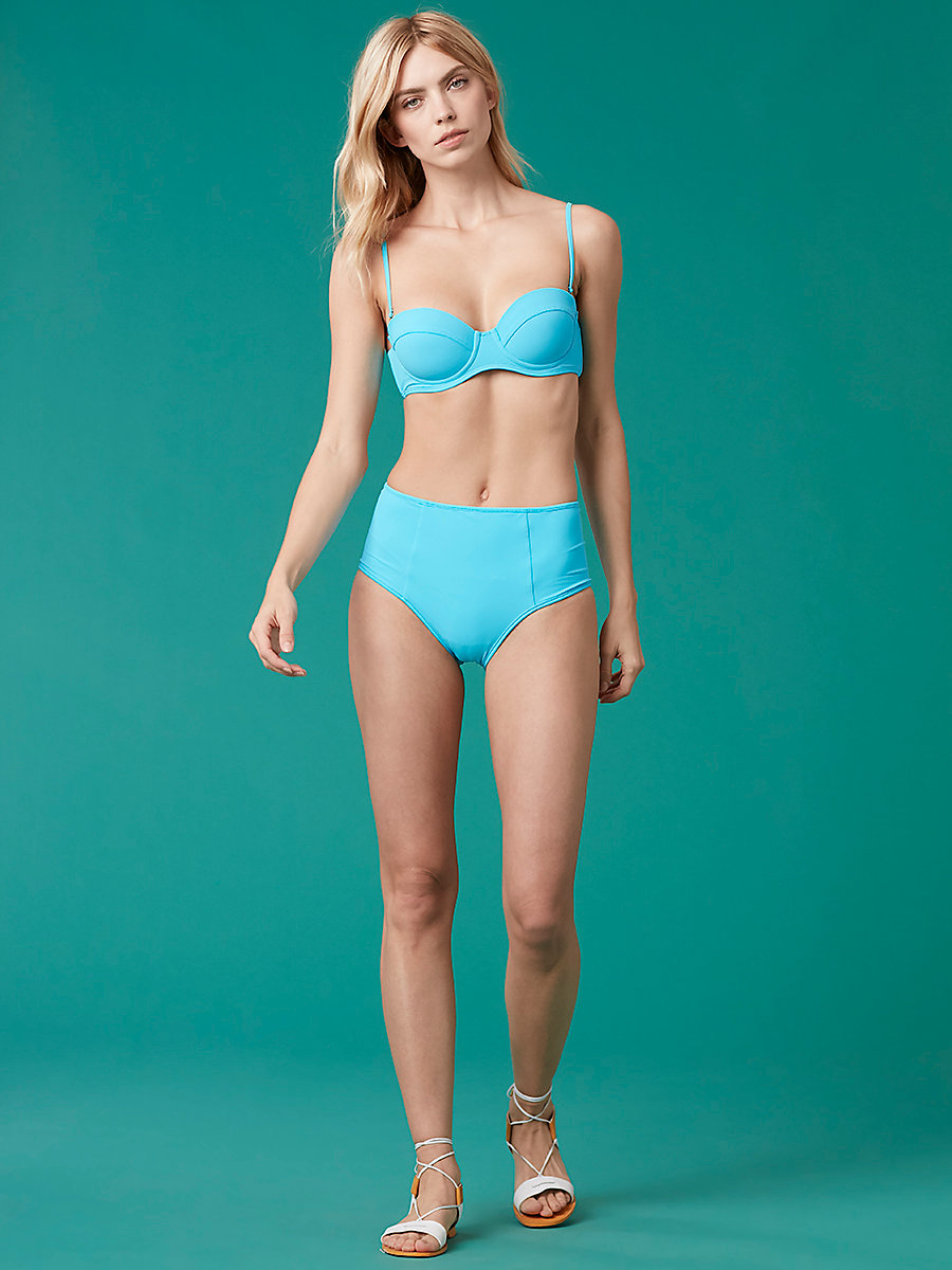 High Waisted Reversible Bikini Bottom in Jade/ Capri by DVF