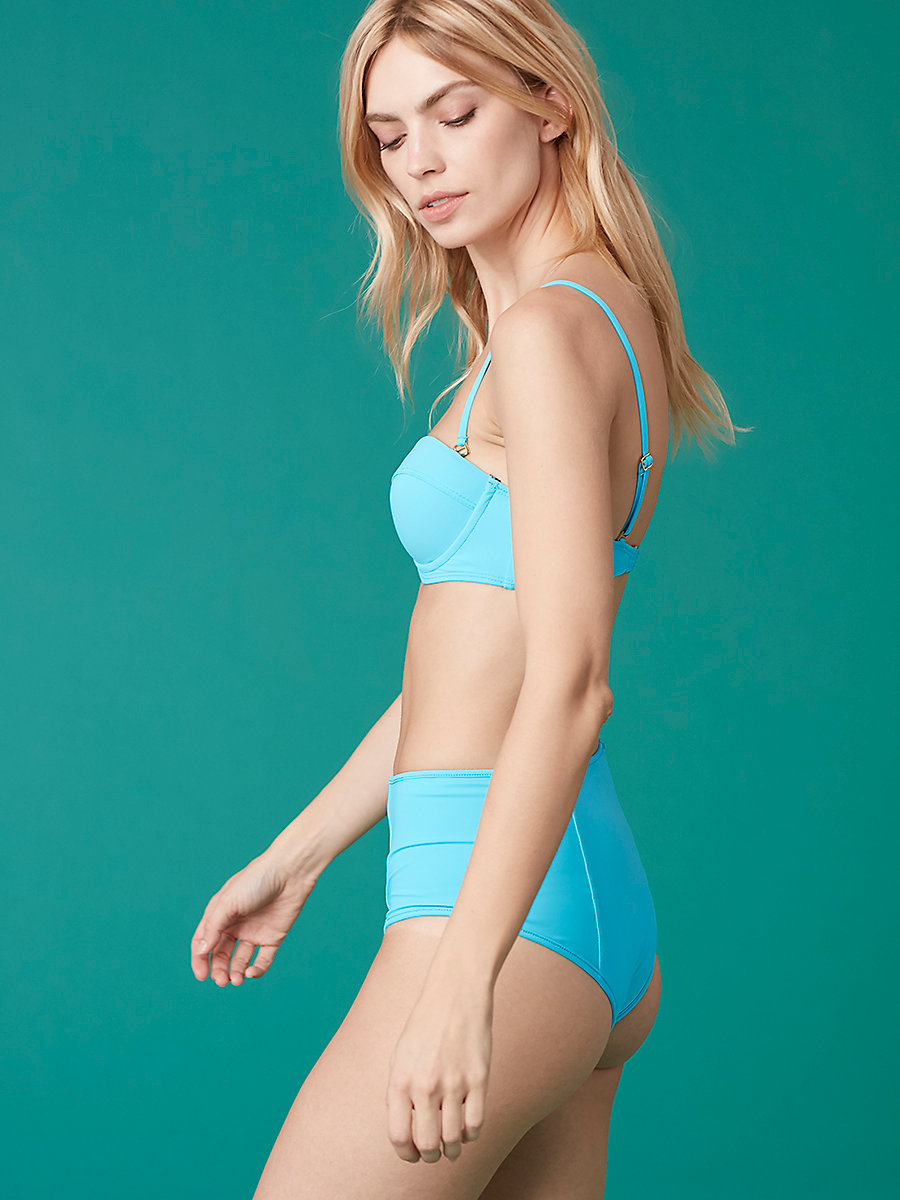 High Waisted Bikini Bottom in Jade/ Capri by DVF