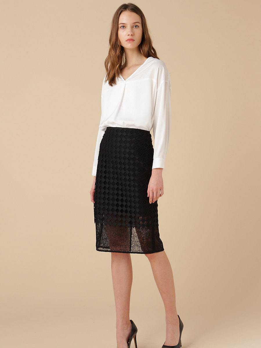 Lace Pencil Skirt in Black by DVF