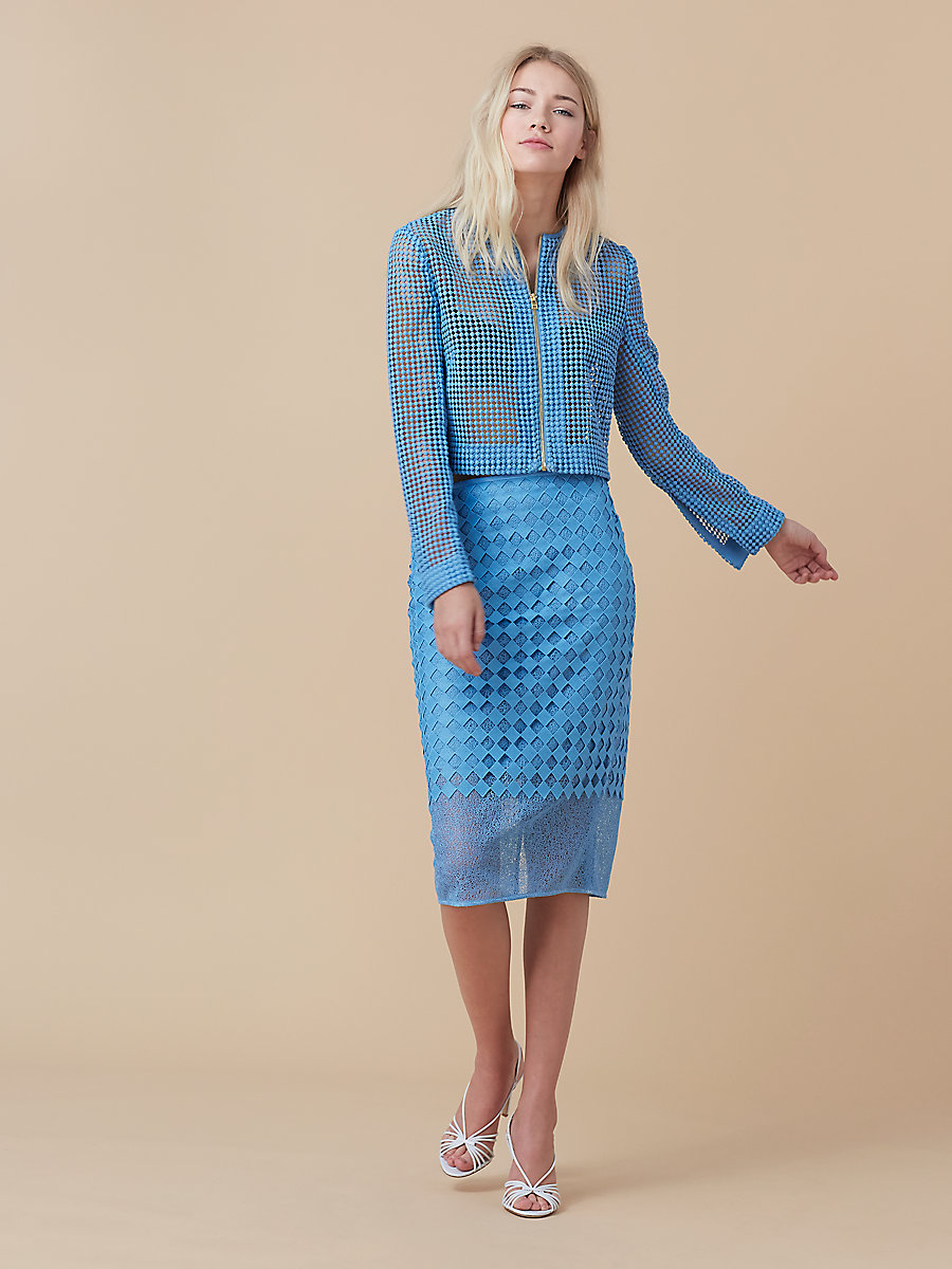 Chain Lace Jacket in True Blue by DVF