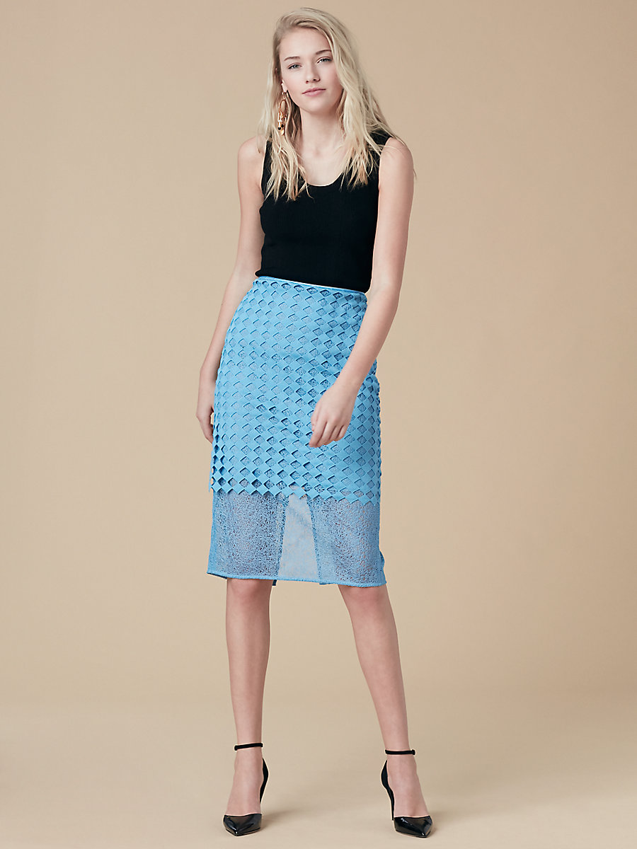 Lace Pencil Skirt in True Blue by DVF