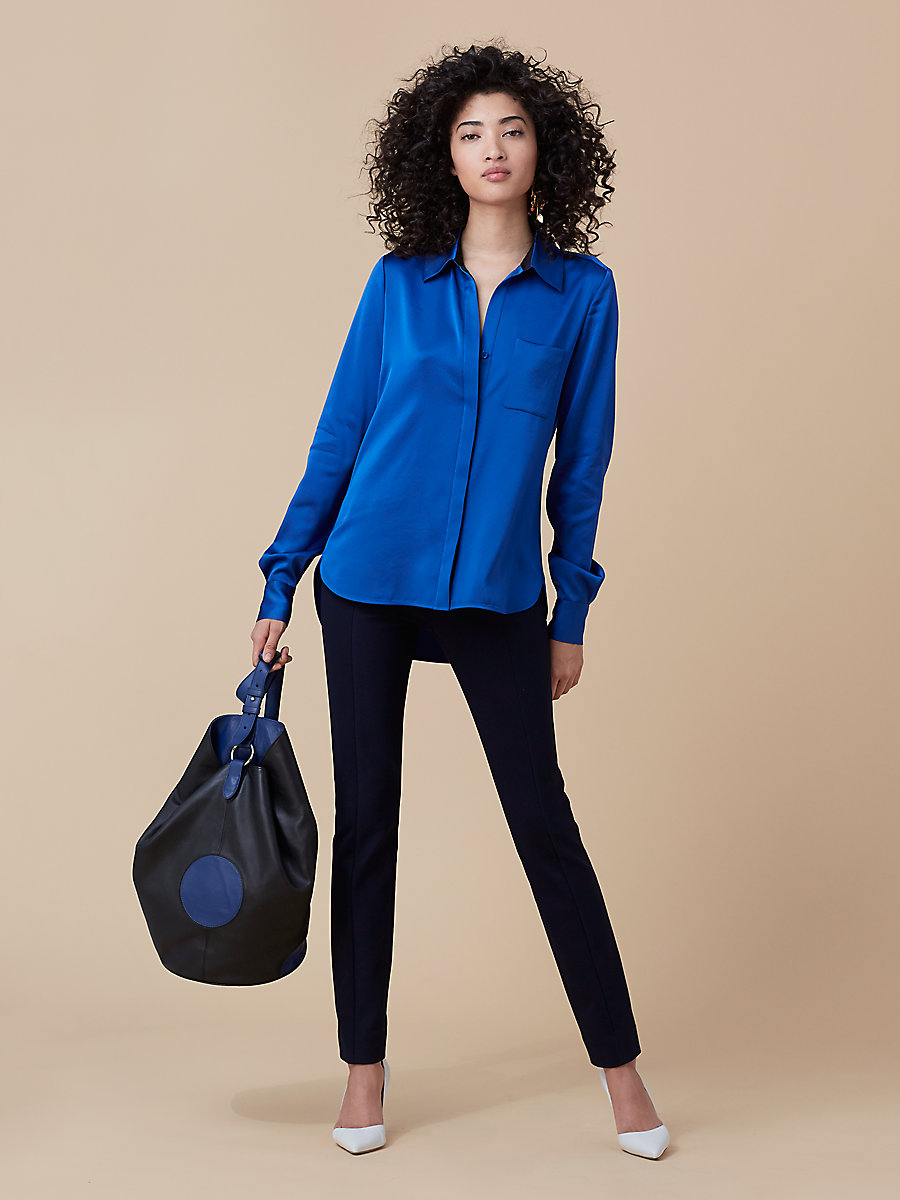 Carter Top in French Blue/ Black by DVF