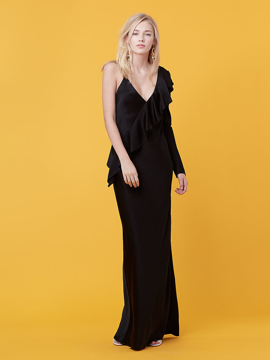 Asymmetric Ruffle Sleeve Floor Length Dress in Black by DVF