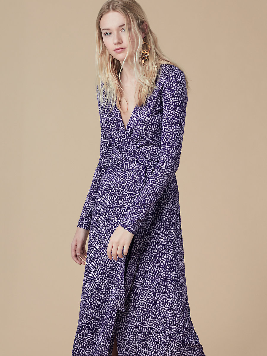 New Julian Long Wrap Dress in Dalton Dark Violet by DVF