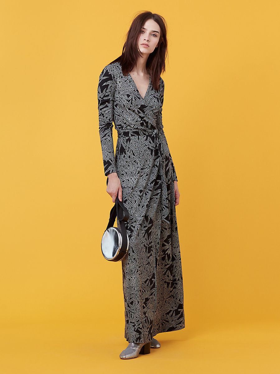 New Julian Long Wrap Dress in Lepic Black by DVF