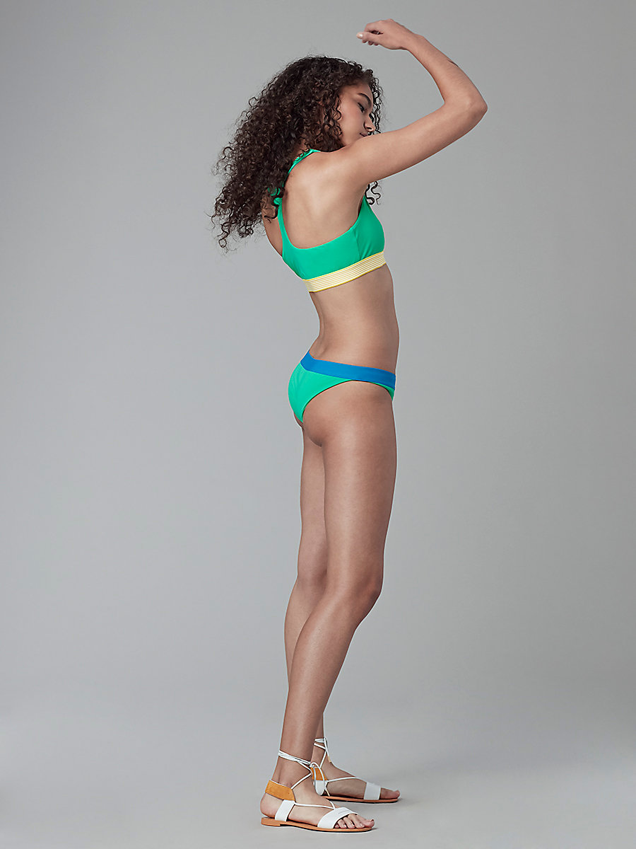 Banded Bikini Bottom in Jade/ Turquoise by DVF