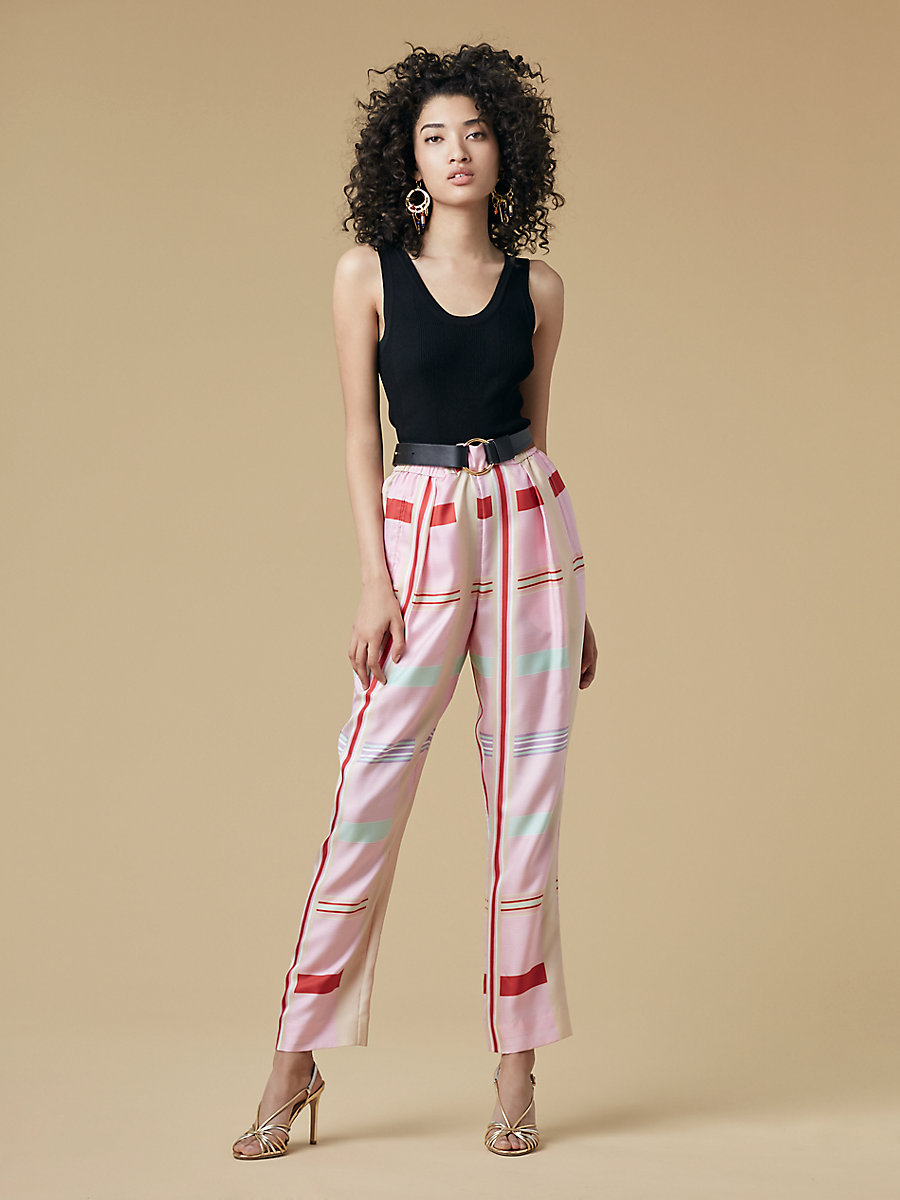 Silk Twill Pleat Front Pant in Euler Cinnabar by DVF