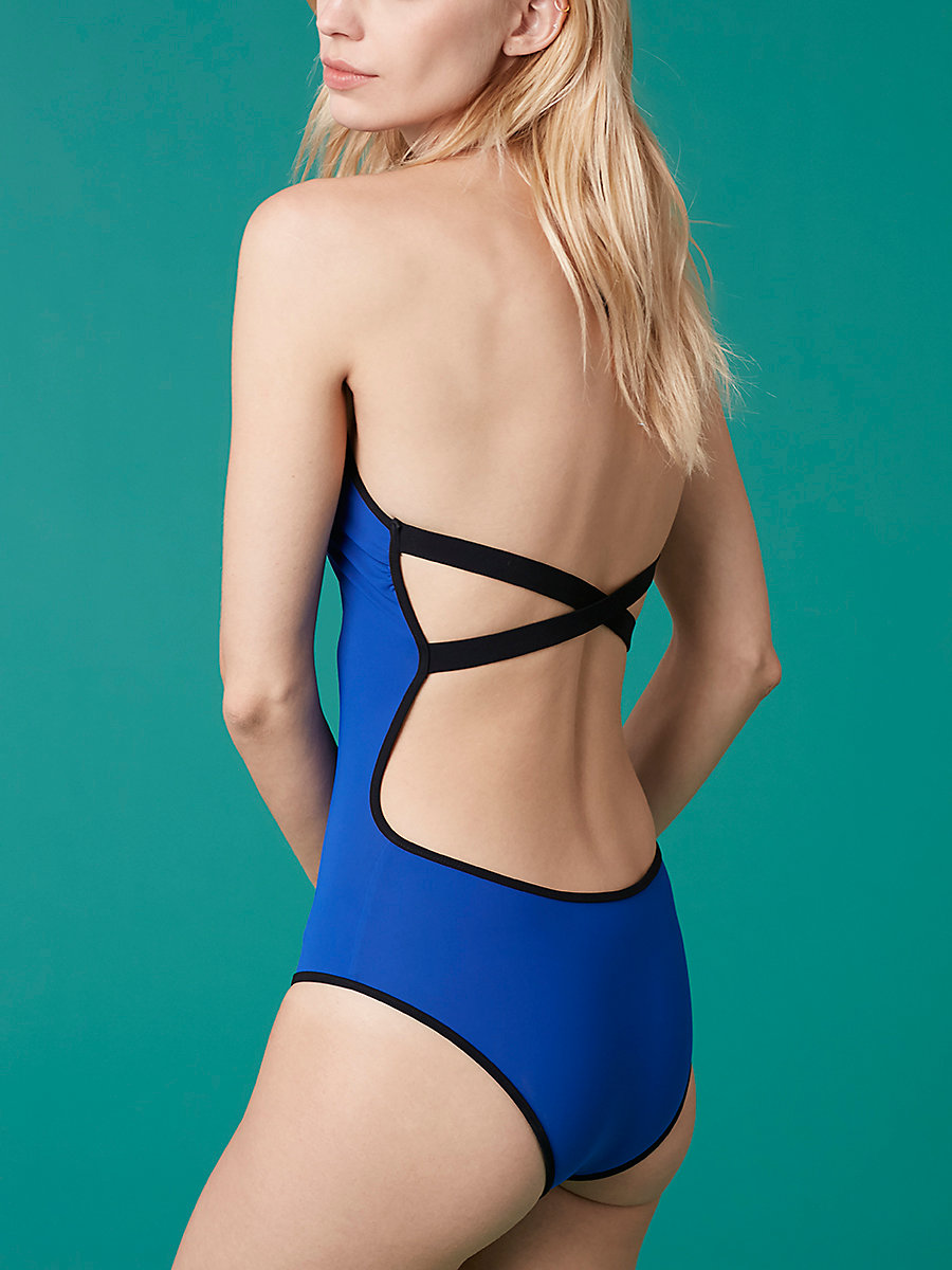 Halter Neck One-Piece in Klein Blue/ Black by DVF