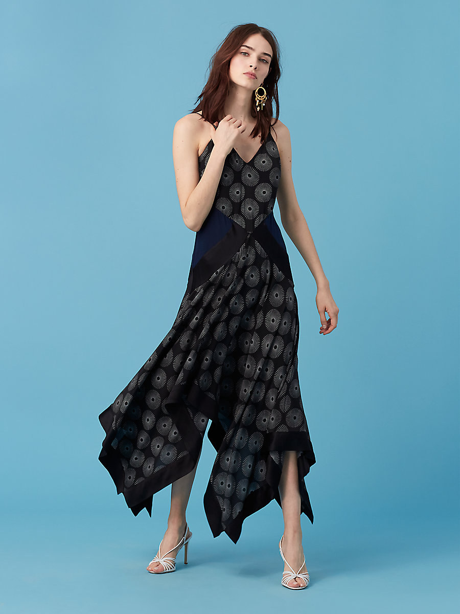 Scarf Hem Midi Dress in Fenton Black/ Alexander Navy by DVF