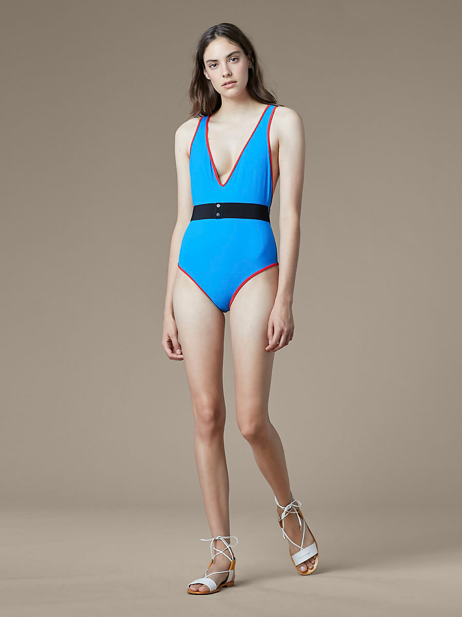 Deep V-Neck One Piece in Bright Blue/ Bright Red by DVF