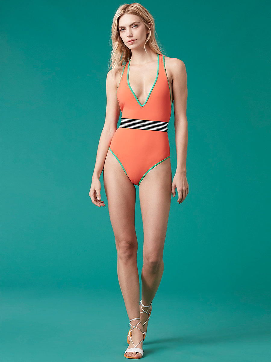 Deep V One Piece in Coral/ Jade/ Klein Blue by DVF