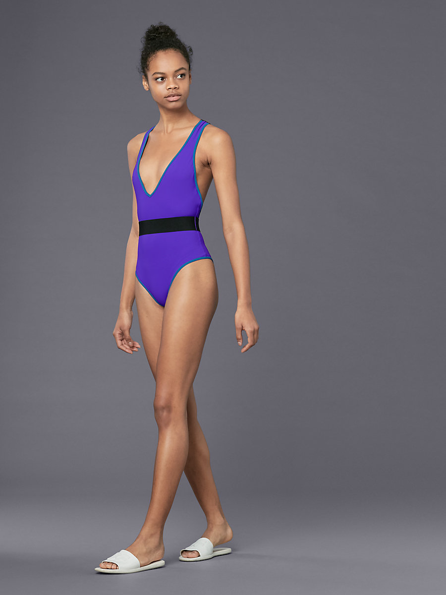 Deep V-Neck One Piece in Ultraviolet/ Ink by DVF
