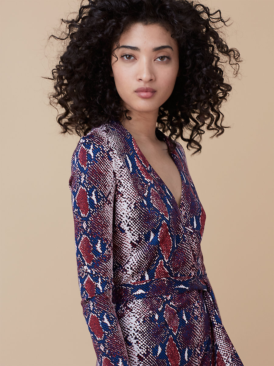 Printed Wrap Dress in Tissera French Blue by DVF