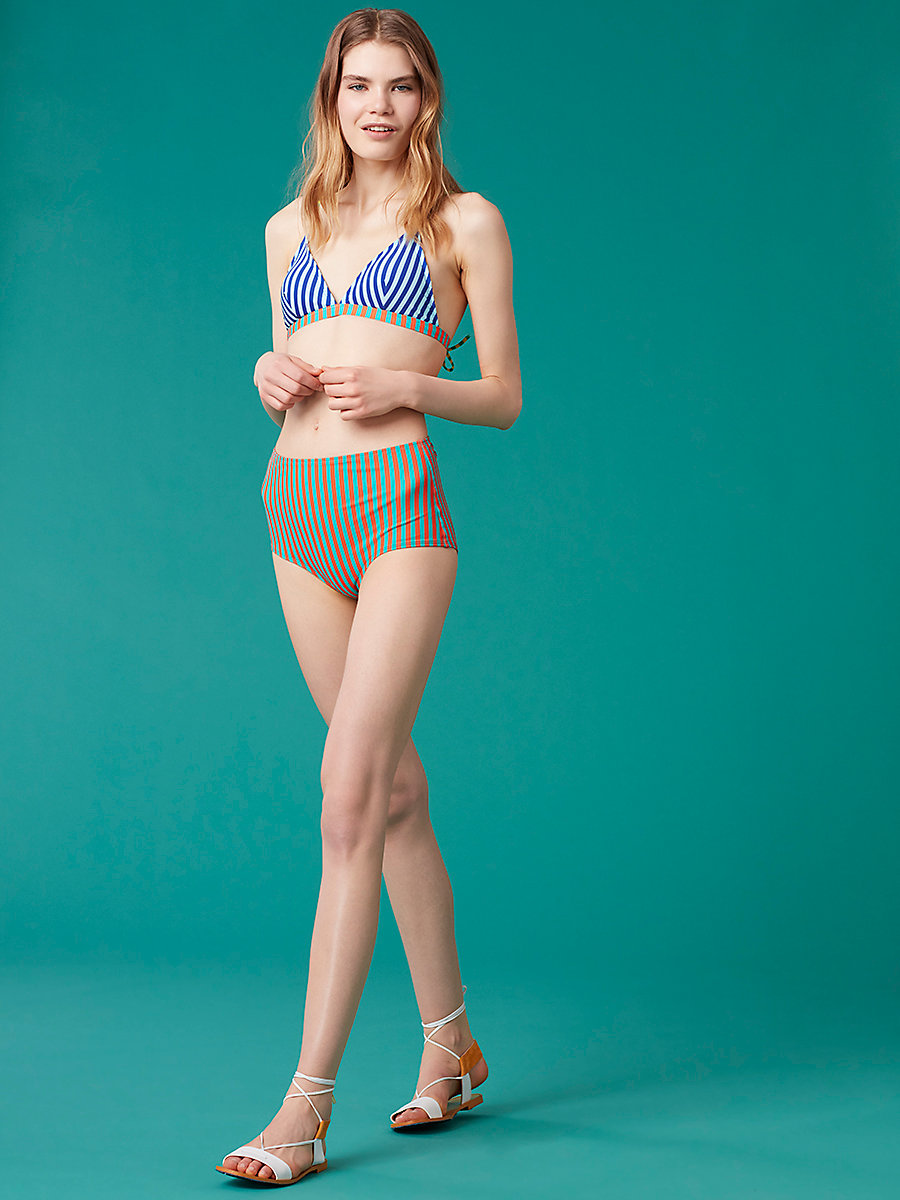 True High-Waisted Bikini Bottom in Borda Stripe Bright Aqua by DVF