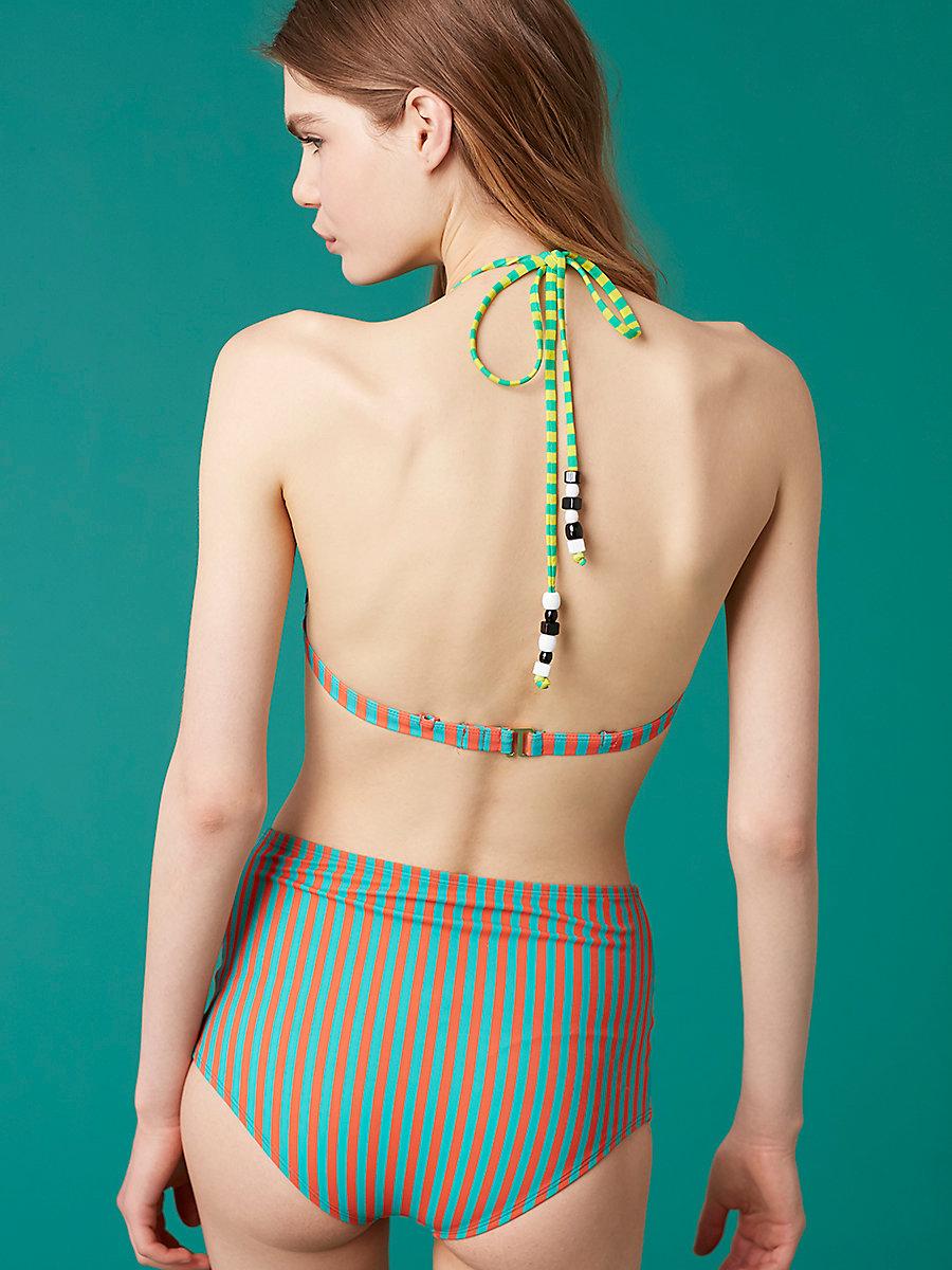 True High-Waisted Bikini Bottom in Borda Stripe Bright Aqua by DVF