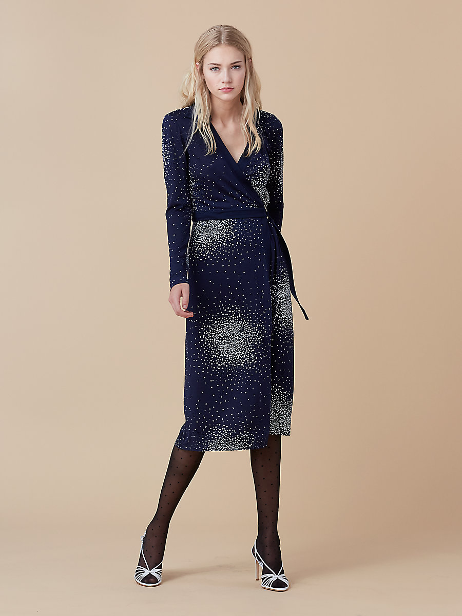 D Ring Wrap Dress in Belvedere Navy/ Navy by DVF