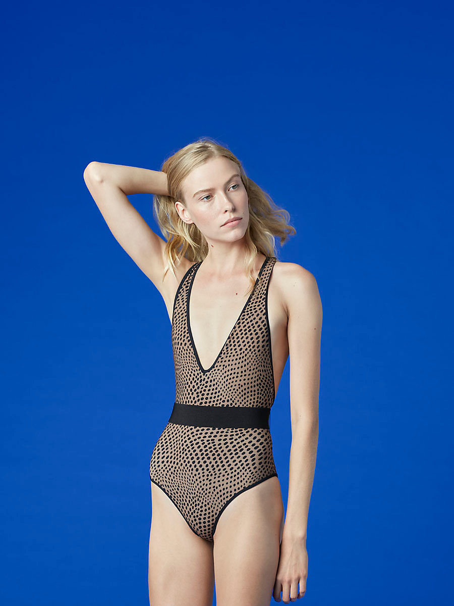 Deep V-Neck One Piece in Easton Dot Clay/ Black by DVF