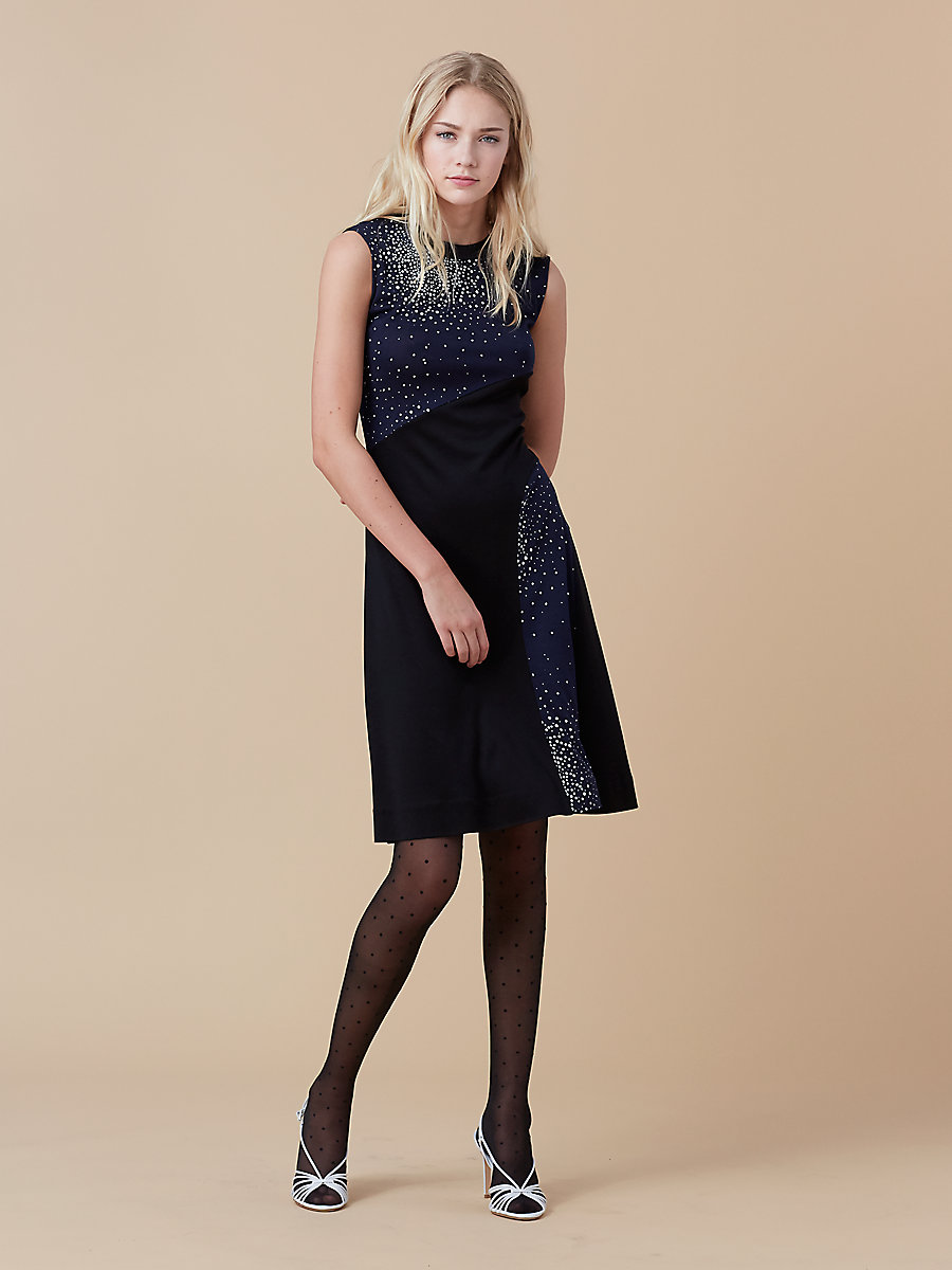 Crew Neck Dress in Belvedere Navy/ Black by DVF