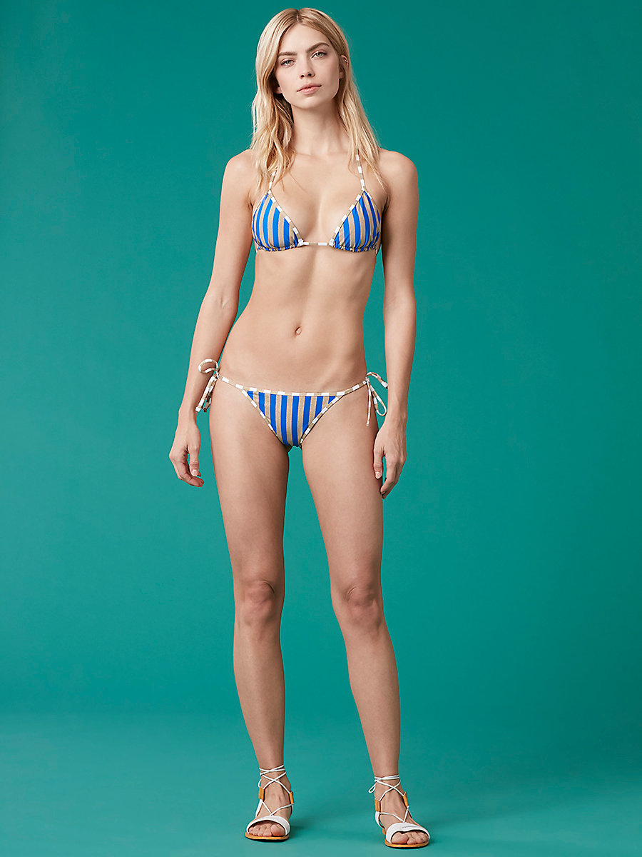 Reversible String Bikini Bottom in Klein Blue/ Gold/ Midnight by DVF