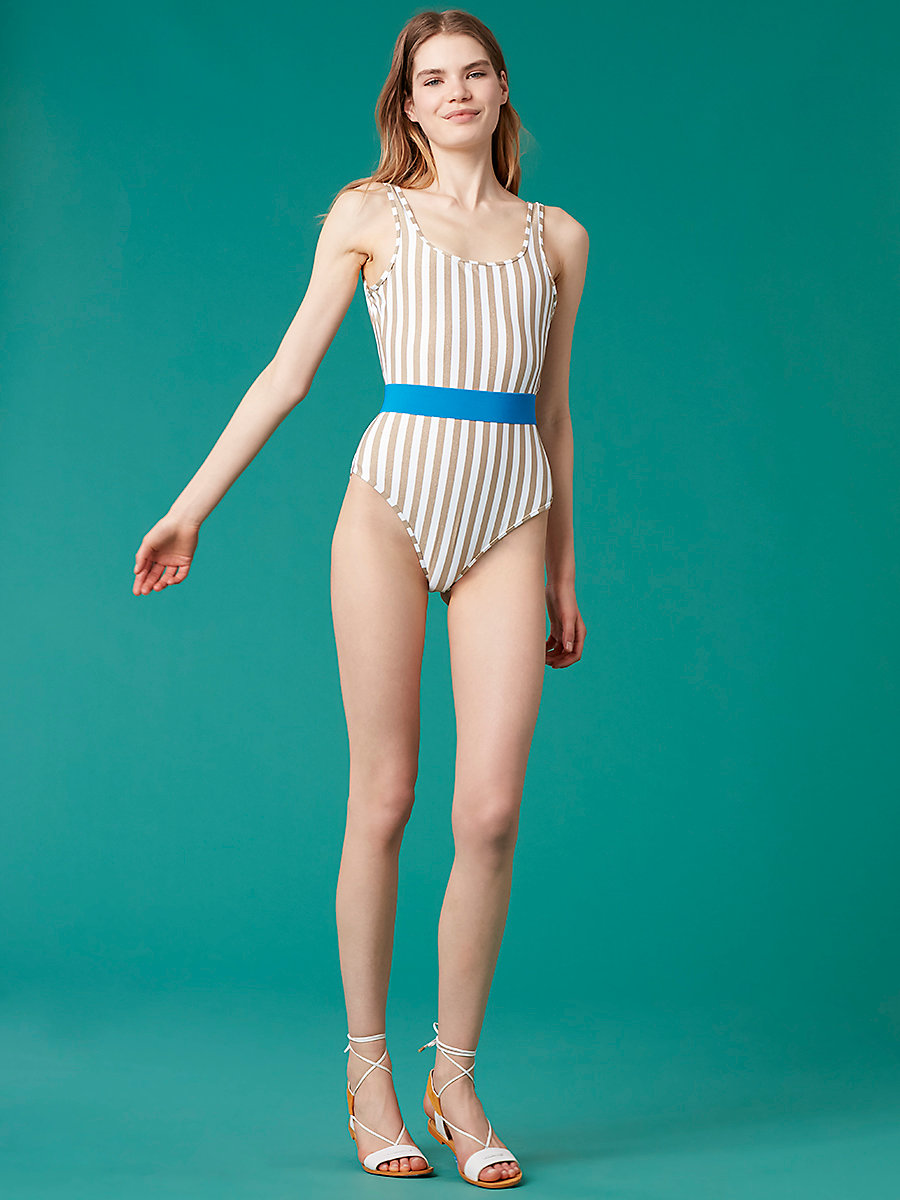 Classic One-Piece in White/ Gold/ Turquoise by DVF