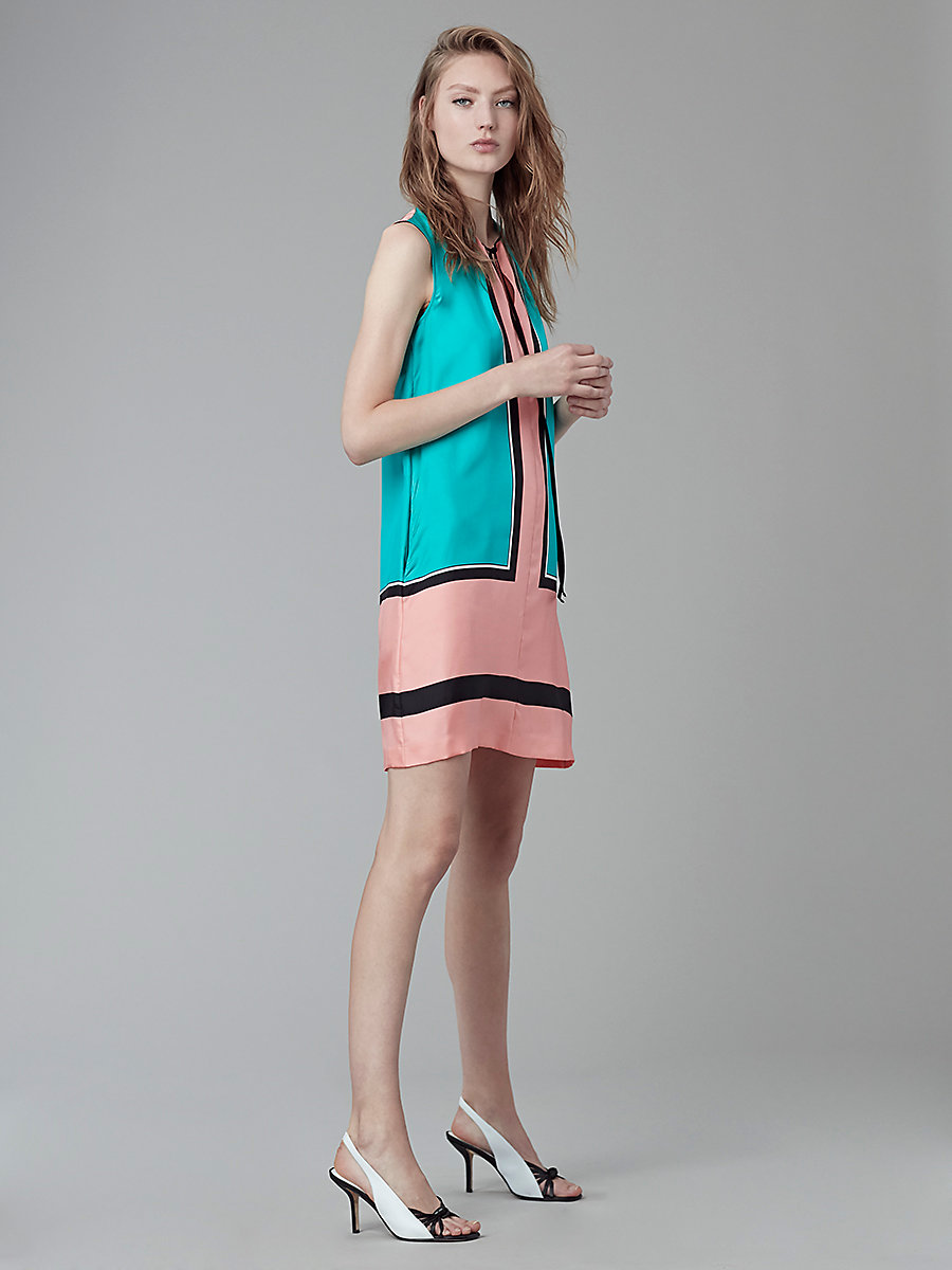 Bow Tie Dress in Arago Large Peony/bright Aqua by DVF