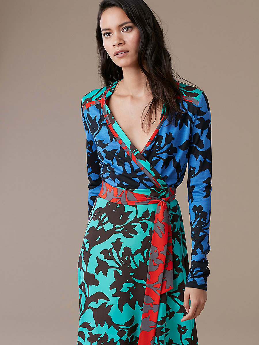 Long-Sleeve Wrap Dress in Brulon Denim/brulon Aqm/brl Br by DVF