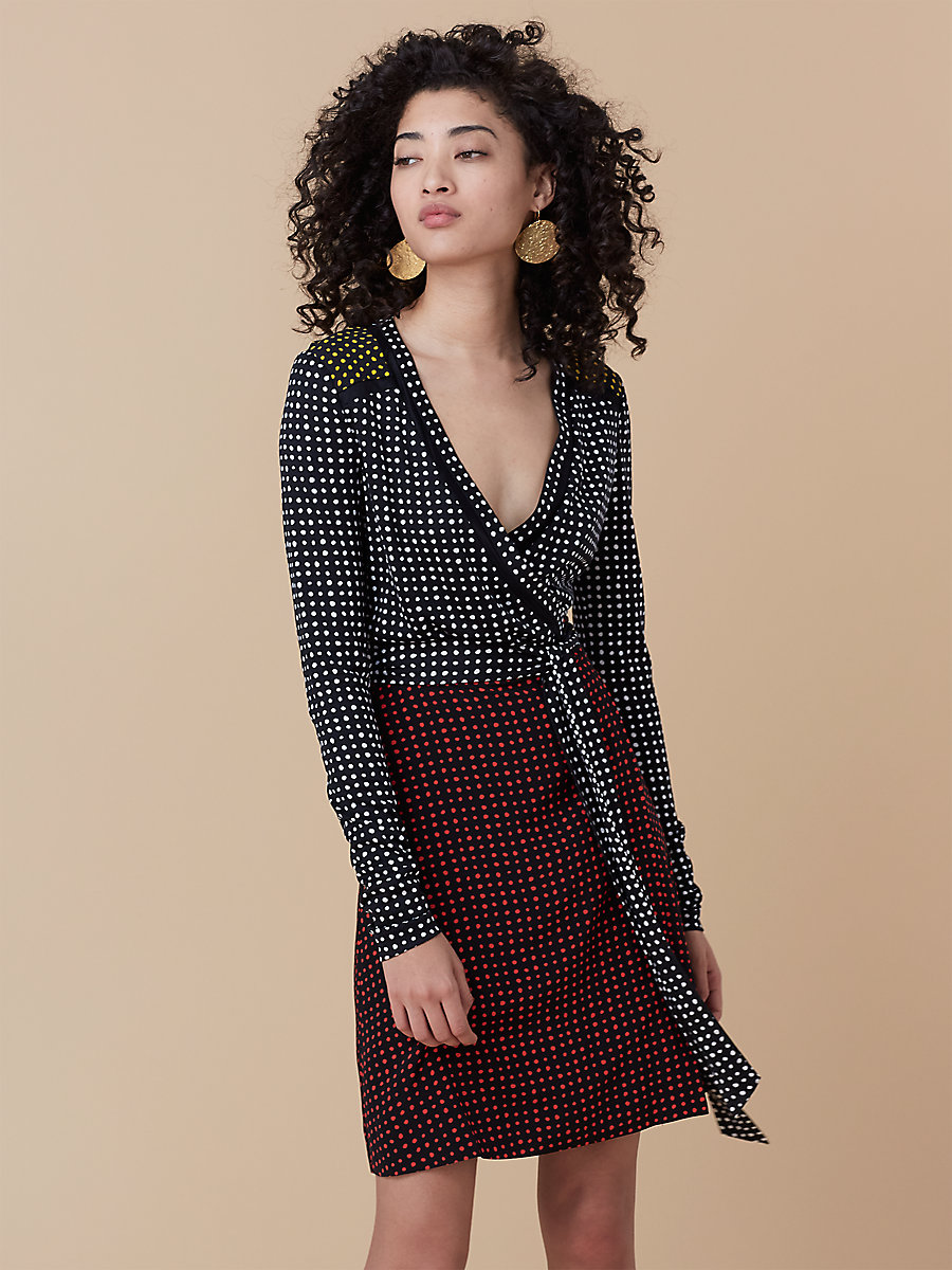 Long-Sleeve Wrap Dress in Ferma Combo by DVF