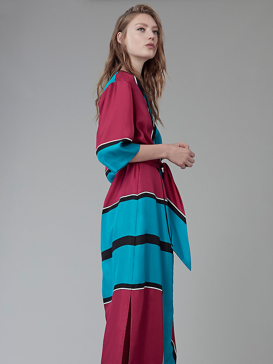 Bow Tie Floor-Length Dress in Arago Large Cerise/turquoise by DVF
