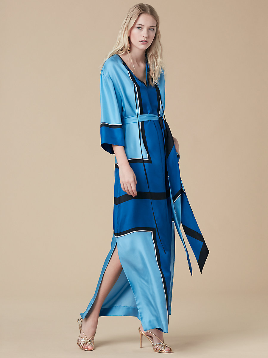 Bow Tie Floor-Length Dress in Arago True Blue/ Black by DVF