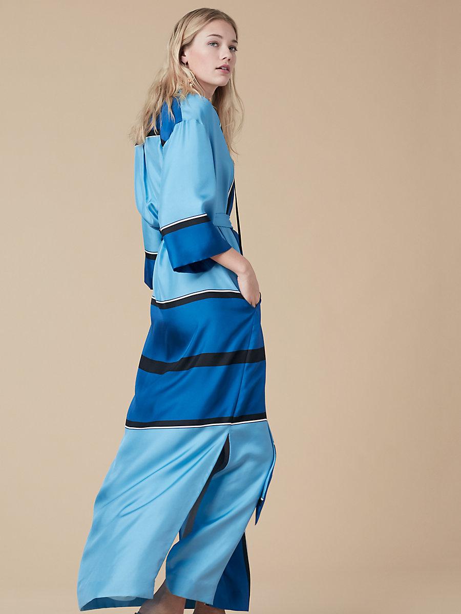 Bow Tie Floor-Length Dress in Arago True Blue/ Black by DVF